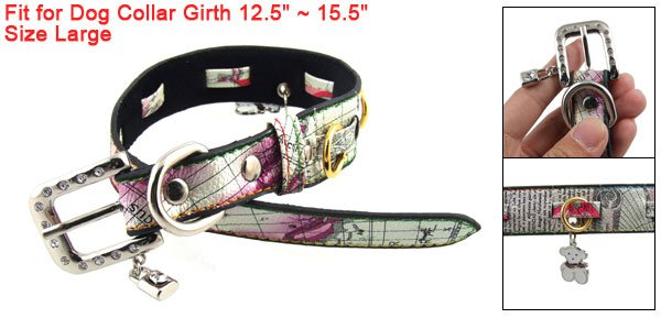 L Adjustable Faux Leather Dog Collar w Lock Bear Charms
