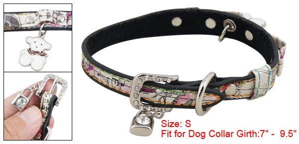 Dog Adjustable Colors Faux Leather Cartoon Collar Belt S
