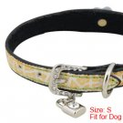 Dog Faux Leather Flower Cracked Ice Pattern Collar Belt S