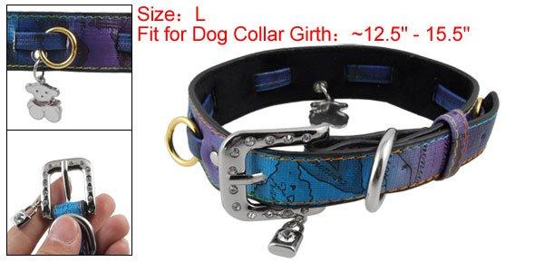 Rhinestone Lock Bear Pendant Charms L Faux Leather Dog Collar w 5 Rings