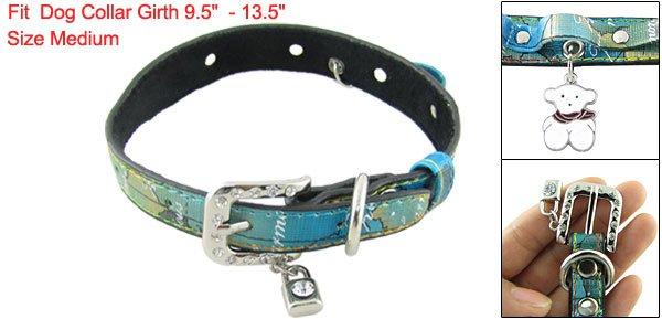 Sz M Peg Dog Rhinestone Accent Buckle Colored Band Collar
