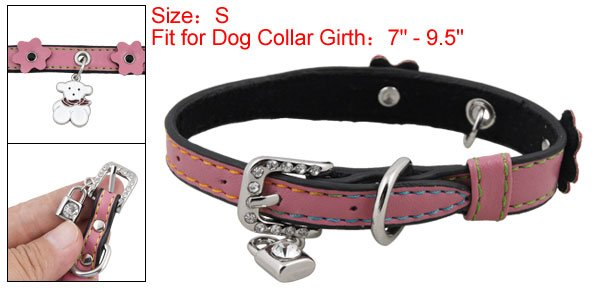 Dog Rectangle Rhinestone Buckle Pink Faux Leather Collar Belt S