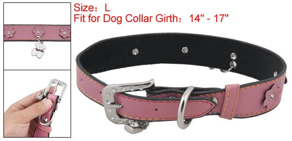 Dog Adjustable Metal Buckle Pink Faux Leather Collar Belt L