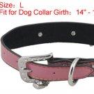 Dog Adjustable Metal Buckle Pink Faux Leather Collar Belt L