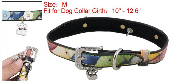 Colors Faux Leather Collar Rhinestone Buckle Belt M for Dog Pet
