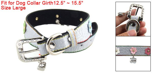 L Lock Bear Charms Crackle Print Dog Collar Gray w Floral Detail