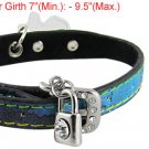 Rhinestone Accent Buckle Colorful Band Pet Dog Sz S Collar