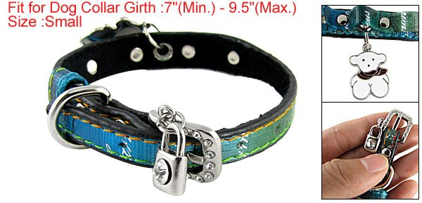 5-Perforated Adjustable Colored Faux Leather Collar Sz S for Dog
