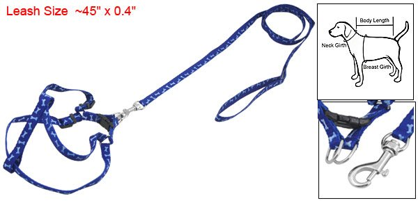Dog Adjsutable Nylon Blue Bone Leash Harness Rope Sz XS