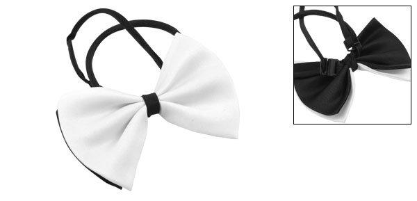 Dog Cat White Black Bow Tie 2 Layered Bowtie Necktie Pet Adjustable Collar