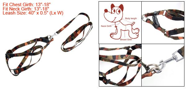 Camouflage Color Dog Walking Lead Harness Strap Leash