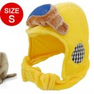 Pet Dog Size S Round Grids Badge Pattern Yellow Hat