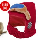 Blue Sponger Decor Red Velvet Size M Hat for Dog