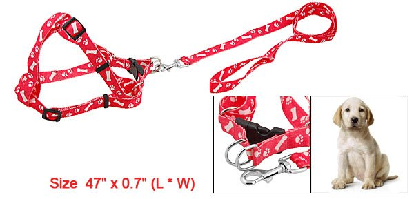 Red Paws Bones Print Dog Safety Harness Leash