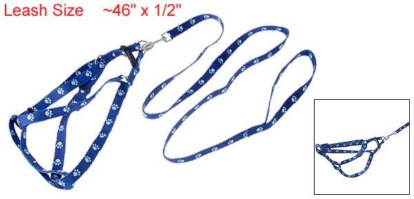 Dog Pet Paw Adjustable Nylon Leash Harness Rope Blue