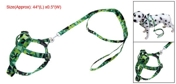 Green Adjustable Dog Size M Strap Nylon Harness Leash