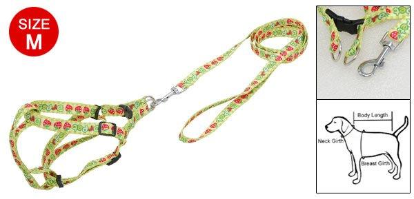 Dog Pet Apple Nylon Harness Leash Strap Size M