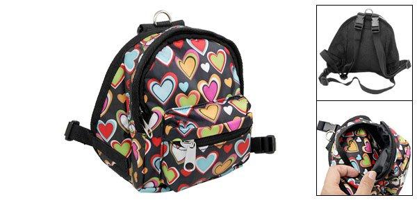 Pet Dog Heart Pattern Backpack Harness Leash Set Medium