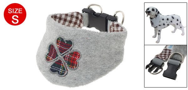 Dog Gray Soft Collar Embroidery Flower Pet Neck Scarf