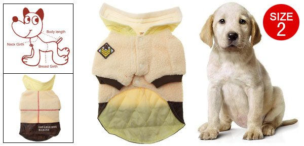 Pet Doggy Light Yellow Winter Navy Coat Clothes Size 2