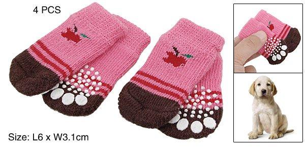 L6 x W3.1cm Pet Dog Puppy Doggie's Nonskid Socks 4PCS