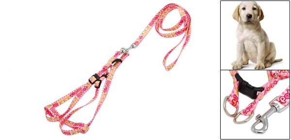 Pet Dog Puppy Pink Nylon Harness Leash Rope
