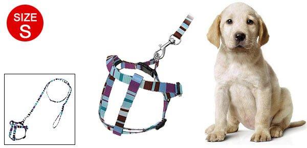 Stripe Pattern Nylon Dog Puppy Leash Harness Size S