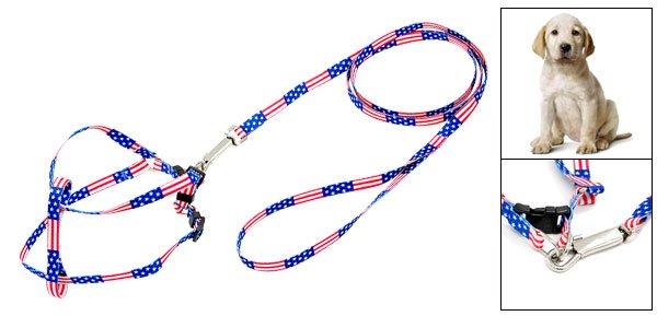 Pet Dog Pull Harness Nylon Leash Rope w. Flag Pattern