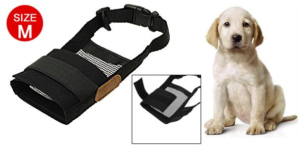 Black Soft Mesh Muzzle Dog Pet Mask Anti-Bark- Bite-Chew Grooming Size M