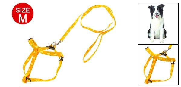 Yellow Footprint Pattern Dog Nylon Pulling Harness Leash