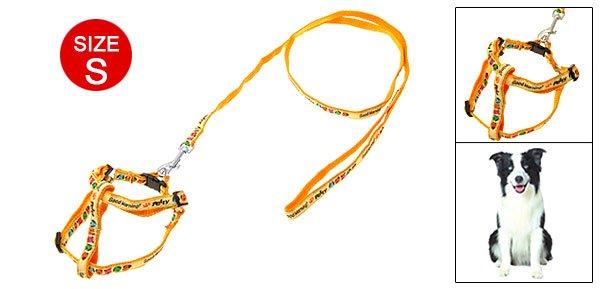 Yellow Doggie Nylon Harness Dog Puppy Leash Lead Size S