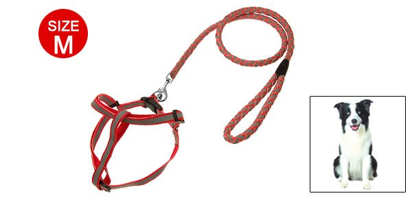 Size M Red Doggie Puppy Pet Dog Nylon Pulling Harness Leash