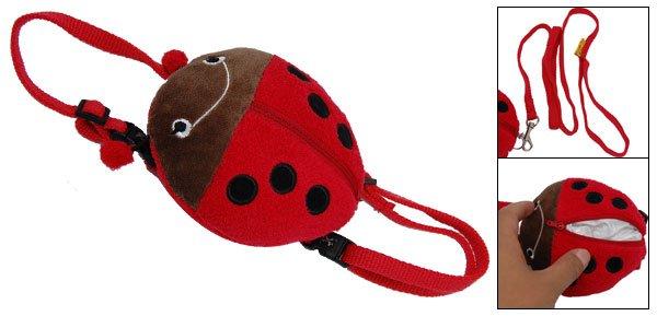 Red Ladybird Ladybug Pattern Dog Doggie Puppy Knapsack Pack & Leash