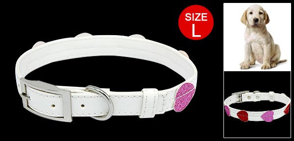 White Glittering Dog Puppy Doggie Doggy Collar Belt with 3 Buckle Set