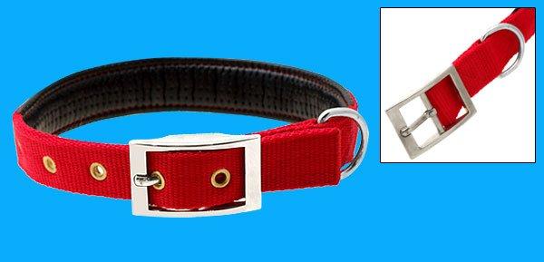 Adjustable Leather Padded Nylon Pet Dog Collar Medium
