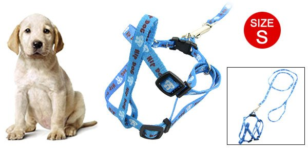 Dog Puppy Blue Pulling Harness Leash Set Small