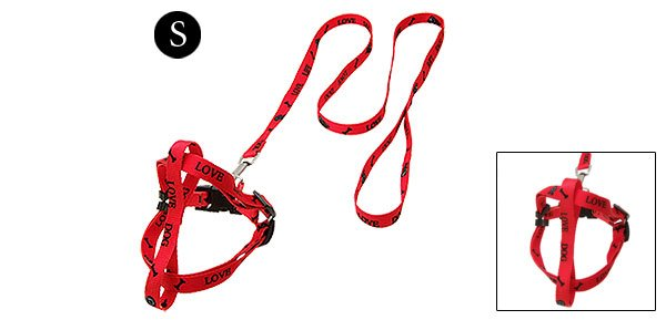 I Love Dog Red Puppy Pulling Harness and Leash Set Small