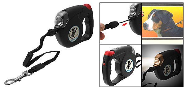 15ft Retractable Flex Dog Leash with Flashlight Torch