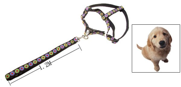 Black Flower Design Nylon Pet Dog Harness and Leash Set