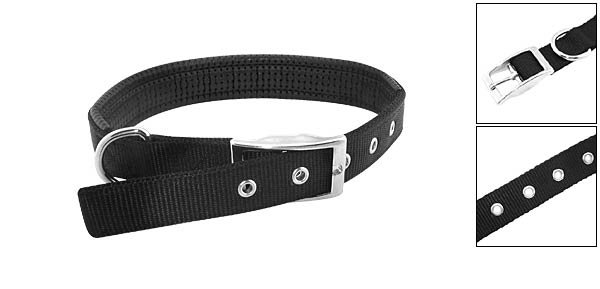 Midnight Black Soft Leather High Strength Nylon Dog Collar Strap - Medium Size