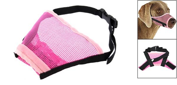Dog Mesh Nylon Muzzle Size XL w/ 11 for Dog Snouts Pink & Black 7,
