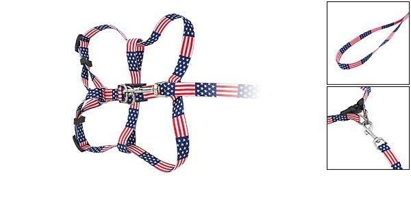 DOG Web Collar Harness Leash Strap for Small dogs - US Star & Stripe