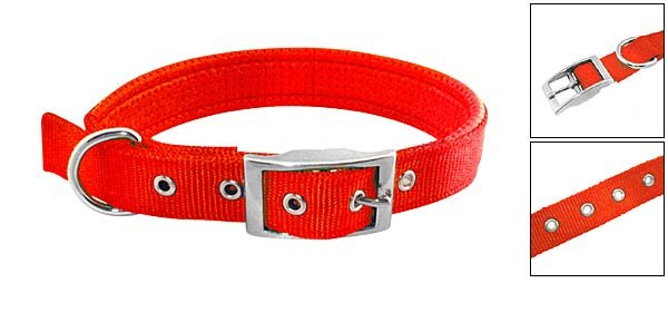 Chilly Pepper Red Soft Leather High Strength Nylon Dog Collar Strap - Large Size