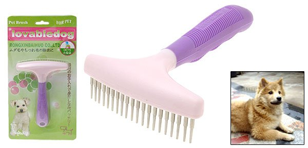 Purple Brush Pet Dog Grooming Shedding Brush Rakes
