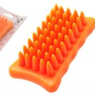 Orange Hand Massage Shower Cleaning Bath Brush for Cat Dog Pet