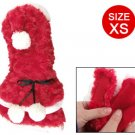 White Pom Pom Decor Hook Loop Fastener Red Plush Dog Pet Clothes XS