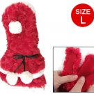 White Tiered Hem Red Plush Xmas Style Pom Pom Dog Hooded Clothes L