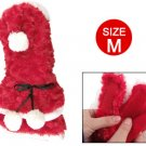 Red Plush Christmas Style Tiered Hem Pet Dog Apparel Clothes M