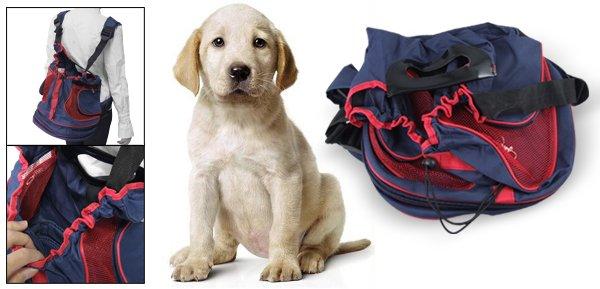 Double Shoulder Straps Handsfree Blue Red Front Pet Dog Carrier