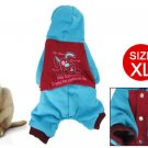 Rabbit Print Red Blue Press Stud Closure Pet Dog Apparel Jumpsuit XL